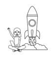 woman with laptop rocket education school vector image