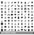 100 forest icons set in simple style vector image vector image