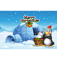 A snowman and a penguin in front of the igloo vector image vector image