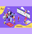 airport isometric travel concept with reception vector image vector image