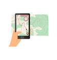 augmented reality smartphone shows topographic map vector image