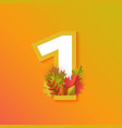 autumn one 1 number with forest leaves vector image vector image