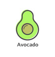 avocado thin line icon isolated avocado fruit vector image