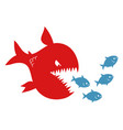 big evil fish pursues small fishes vector image vector image