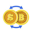 bitcoin and dollar coin with cryptocurrency vector image vector image