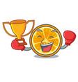 boxing winner orange mascot cartoon style vector image vector image