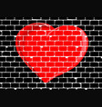 brick wall with red valentine love heart vector image vector image