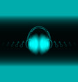 bright glowing neon headphones isolated on blue vector image vector image
