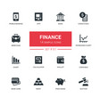 business and finance - line design icons set vector image vector image