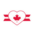 canada day heart with maple leaf ribbon vector image vector image