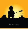 child camping in nature silhouette color vector image vector image