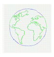 Childs drawing of the planet earth on a notepad le vector | Price: 1 Credit (USD $1)