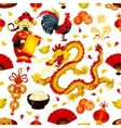 Chinese New Year of Rooster seamless pattern vector image vector image