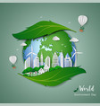 clean city on leaf shape abstract background vector image vector image