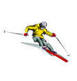 color line sketch skier vector image