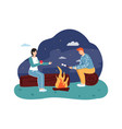 couple sitting at campfire drinking hot tea and vector image