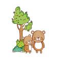 cute animals little bears tree nature cartoon vector image vector image