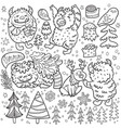 cute cartoon style yetis and woodland elements in vector image vector image