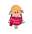 cute cupid boy with a message vector image