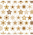 elegant a flat golden snowflakes seamless pattern vector image vector image