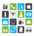 Female Fashion objects and accessories icons vector image