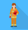 fire fighter woman icon flat style vector image