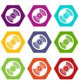 gramophone vinyl lp record icon set color vector image vector image