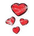 grunge cartoon hearts vector image vector image