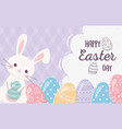 happy easter cute rabbit with eggs decoration vector image