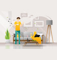 happy young man and his cat in living room vector image