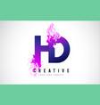 hd h d purple letter logo design with liquid vector image vector image
