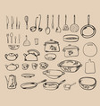kitchen tool collection vector image vector image