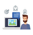 man with laptop and picture file vector image vector image
