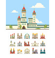 medieval castles old palazzo building hill towers vector image vector image