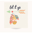Postcard design with bohemian feathers vector image vector image