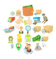 remittance of money icons set cartoon style vector image vector image