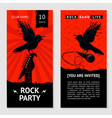 rock music flyer concert invitation with bird vector image vector image