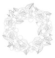 rose and iris flower wreath outline vector image