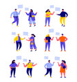 set flat people talking to each other vector image