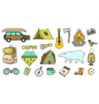 set of cute camping elements equipment in forest vector image vector image