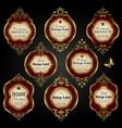 set of luxury ornate gold-framed labels vector image