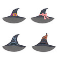 set unusual witch hats in manga style anime vector image