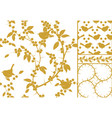 sloe and birds a set of three golden seamless vector image vector image