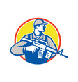 Soldier Military Serviceman Assault Rifle Side vector image vector image
