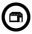 store icon black color in circle vector image