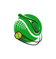tennis sport game green icon vector image vector image