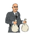 Thief cartoon with money bag design vector image vector image