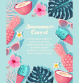 tropic card with icecream and fruits vector image