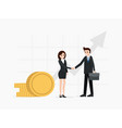 two business partners shaking hands finance vector image vector image