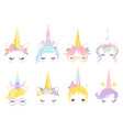 unicorn face fantasy horse pony animal creation vector image vector image